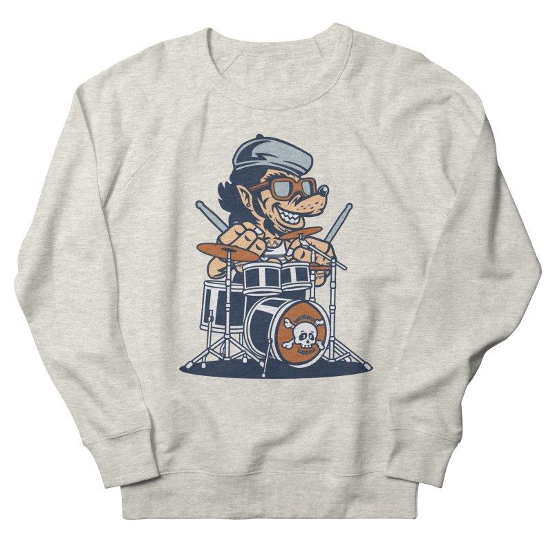 Wolf On Drums Women's French Terry Sweatshirt by WackyToonz