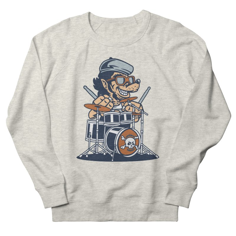 Wolf On Drums Men's French Terry Sweatshirt by WackyToonz