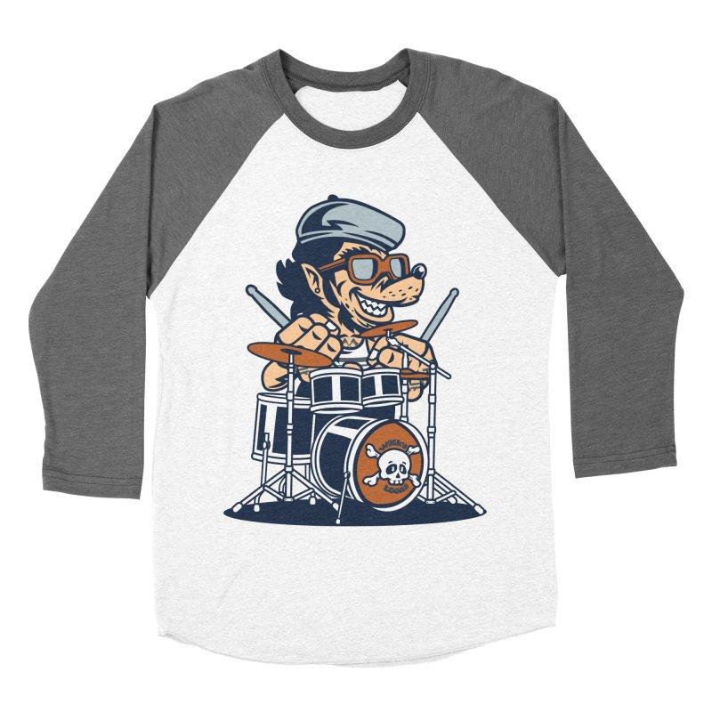 Wolf On Drums Women's Baseball Triblend Longsleeve T-Shirt by WackyToonz
