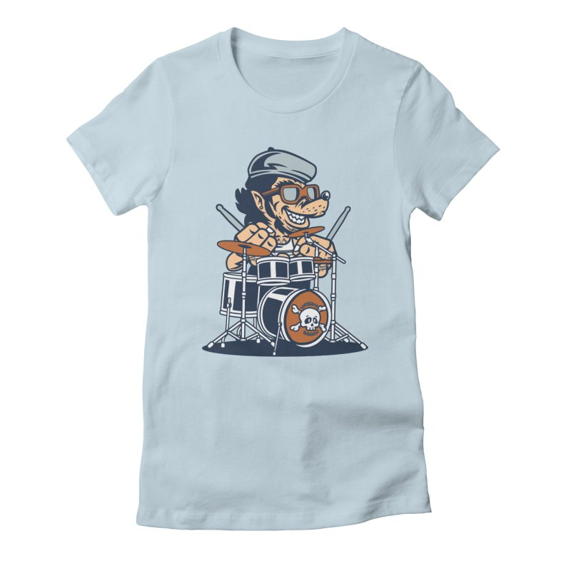 Wolf On Drums Women's T-Shirt by WackyToonz