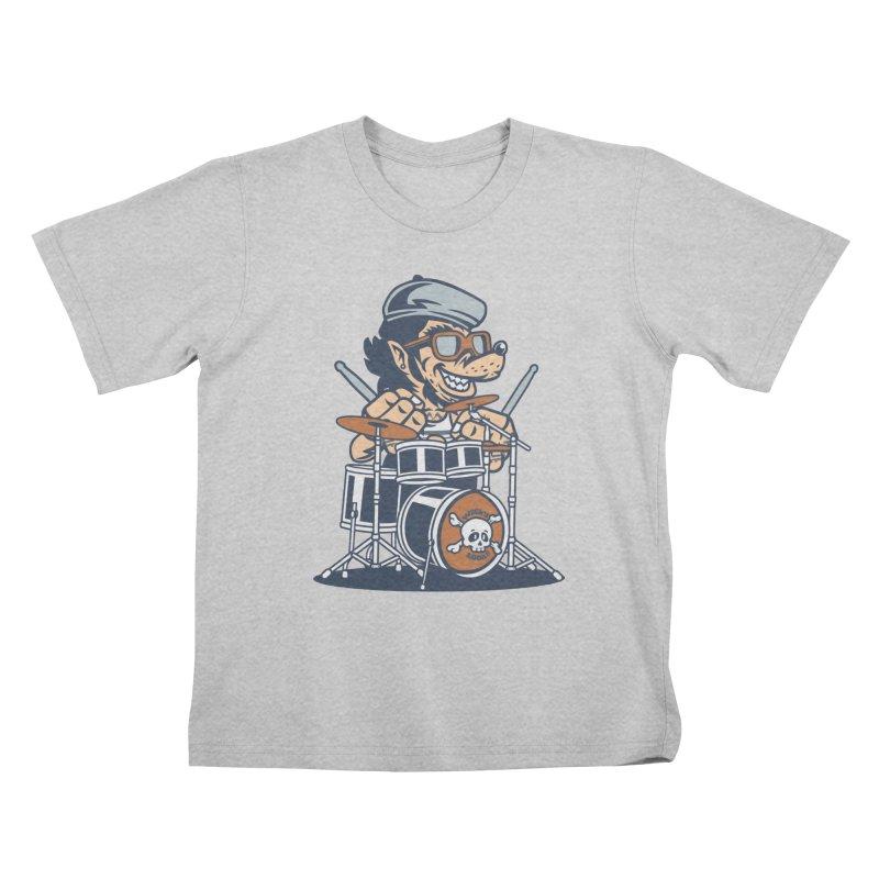 Wolf On Drums Kids T-Shirt by WackyToonz