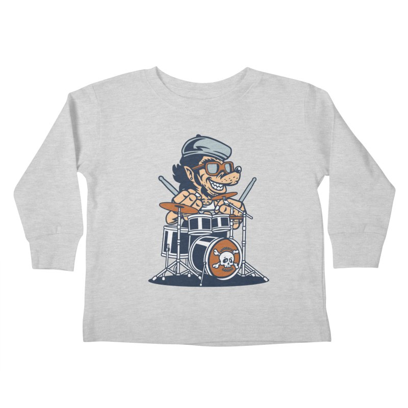 Wolf On Drums Kids Toddler Longsleeve T-Shirt by WackyToonz