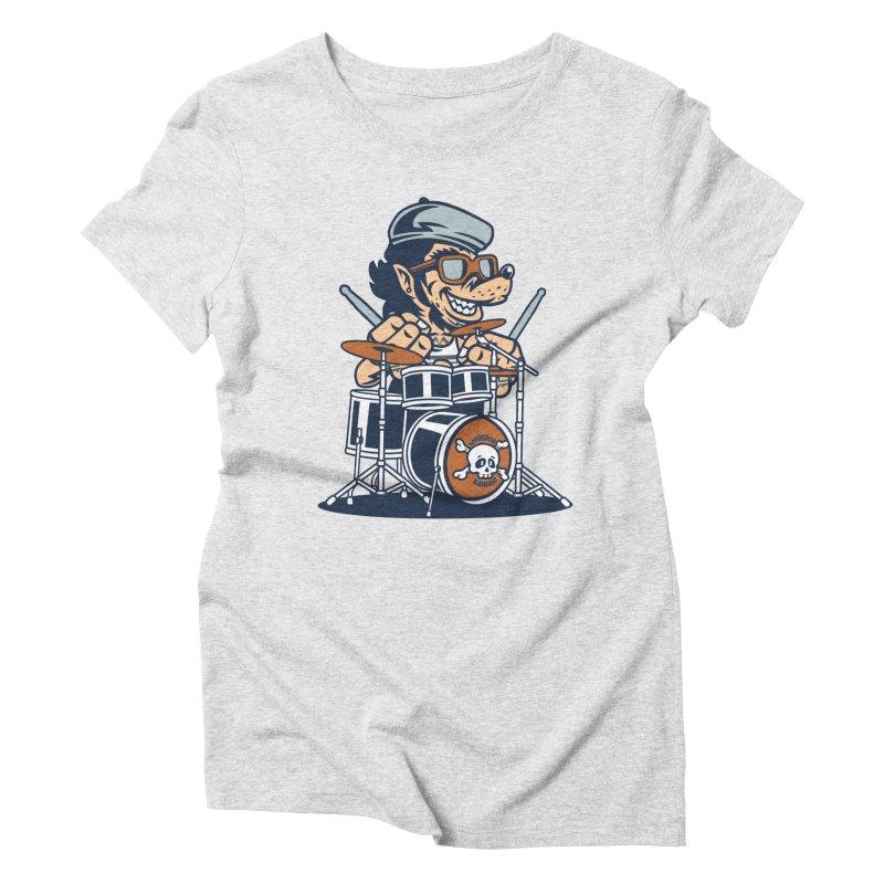 Wolf On Drums Women's Triblend T-Shirt by WackyToonz