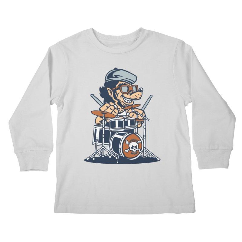 Wolf On Drums Kids Longsleeve T-Shirt by WackyToonz