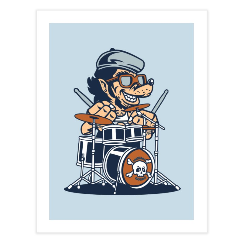 Wolf On Drums Home Fine Art Print by WackyToonz