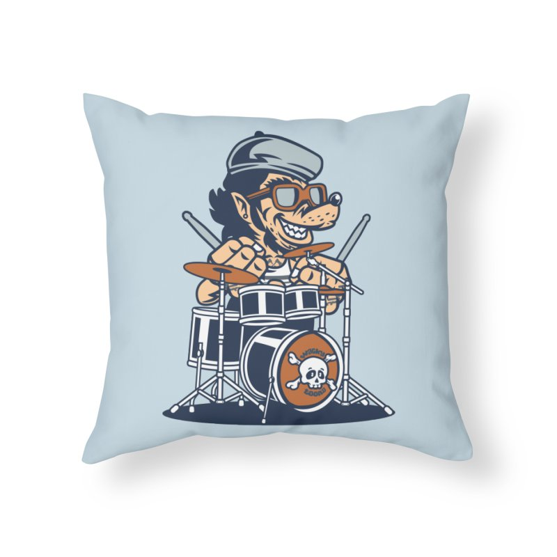 Wolf On Drums Home Throw Pillow by WackyToonz