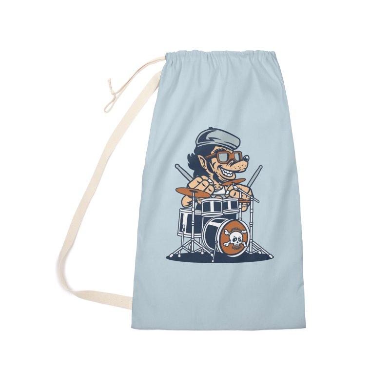 Wolf On Drums Accessories Laundry Bag Bag by WackyToonz