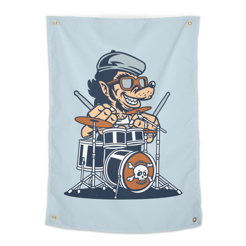 Wolf On Drums Home Tapestry by WackyToonz