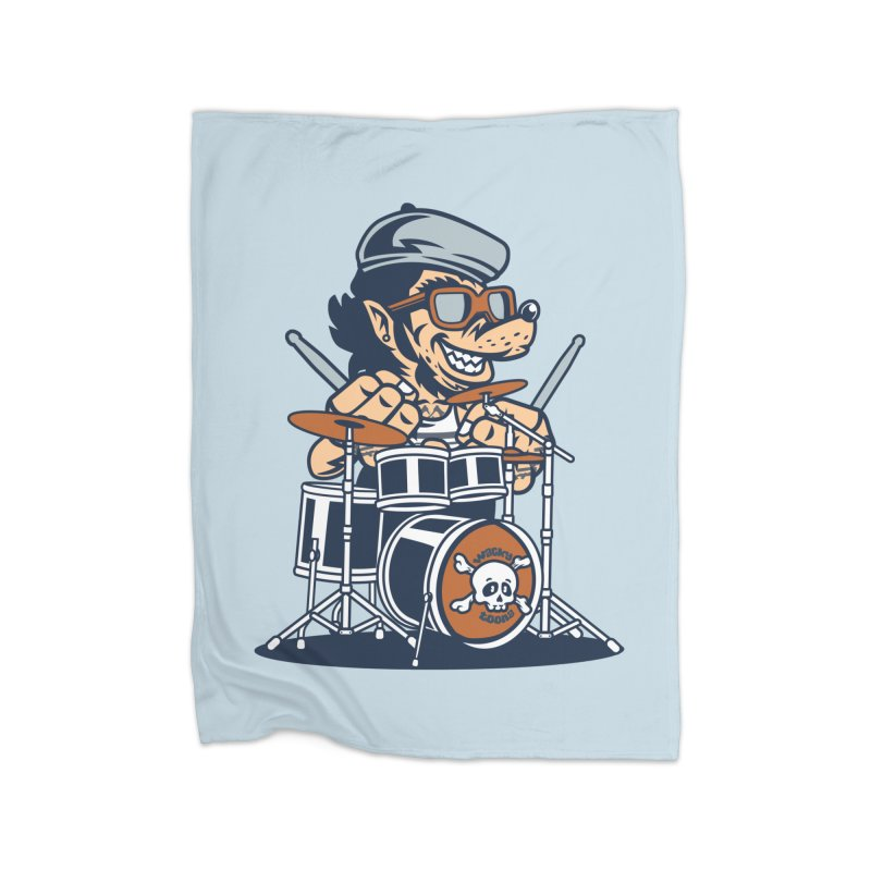 Wolf On Drums Home Fleece Blanket Blanket by WackyToonz