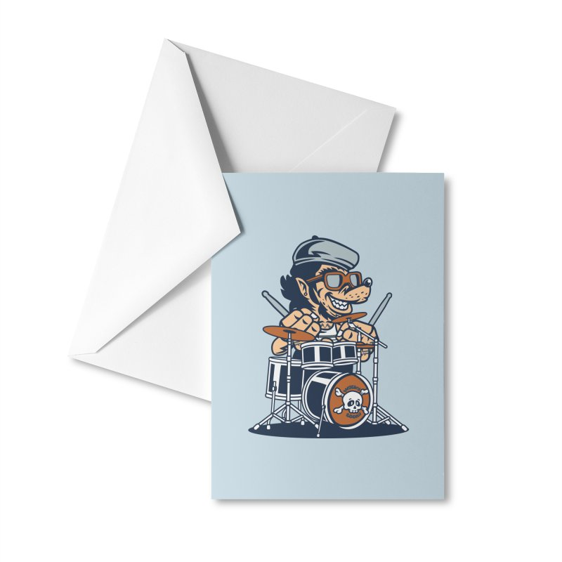 Wolf On Drums Accessories Greeting Card by WackyToonz