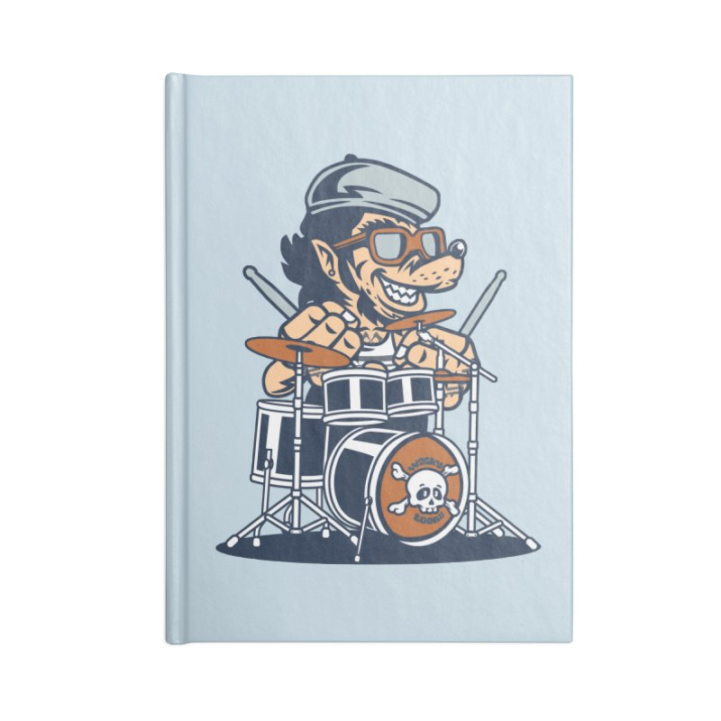 Wolf On Drums Accessories Lined Journal Notebook by WackyToonz