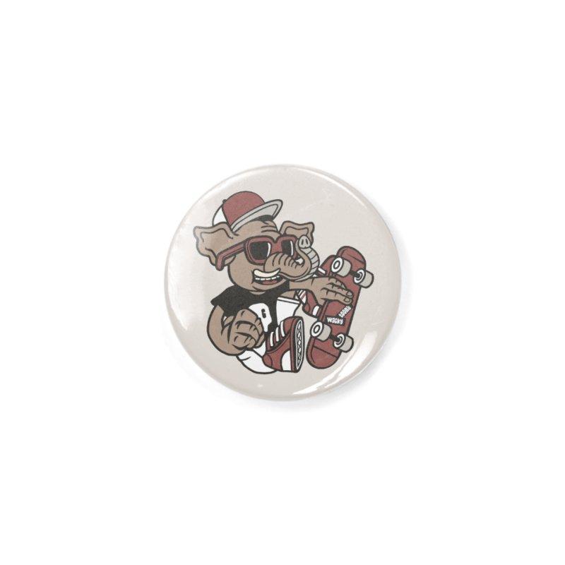 Skateboarding Elephant Accessories Button by WackyToonz