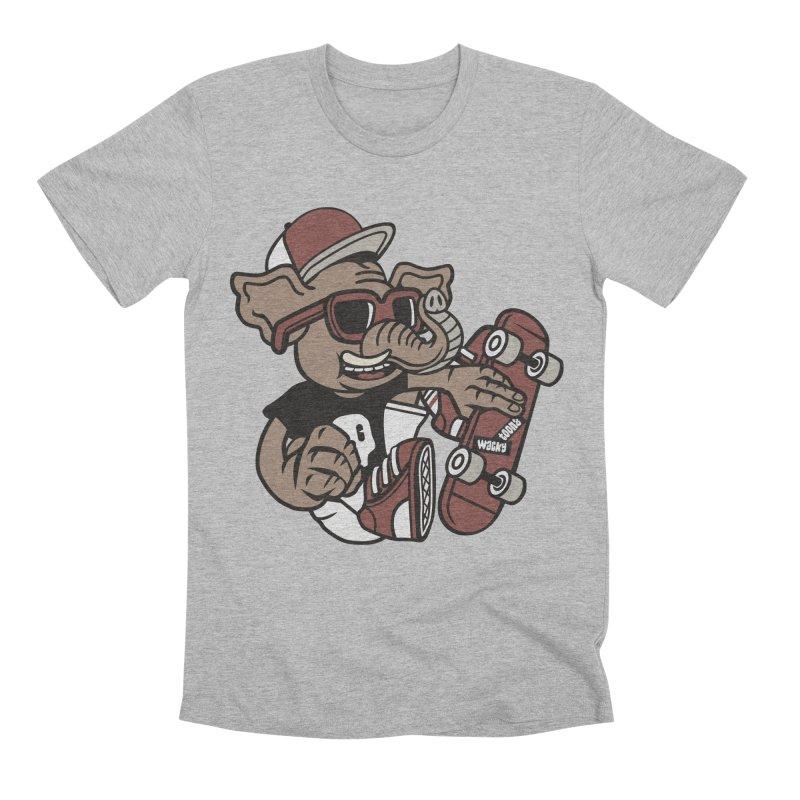 Skateboarding Elephant Men's Premium T-Shirt by WackyToonz