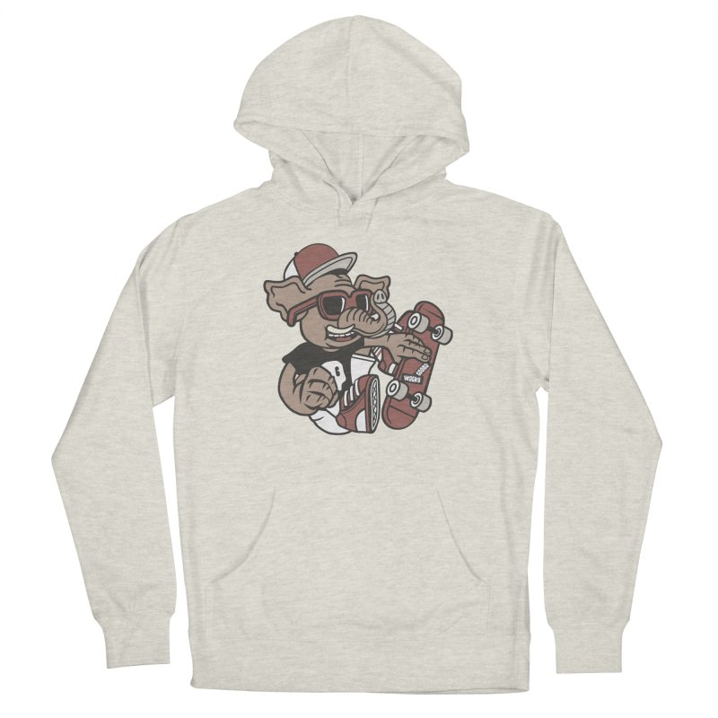 Skateboarding Elephant Women's French Terry Pullover Hoody by WackyToonz