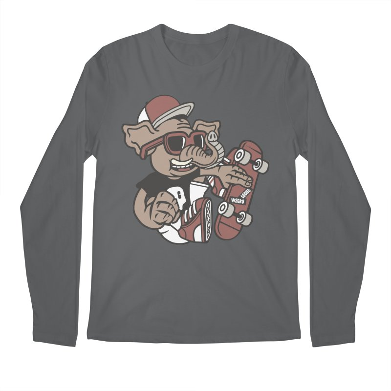 Skateboarding Elephant Men's Regular Longsleeve T-Shirt by WackyToonz