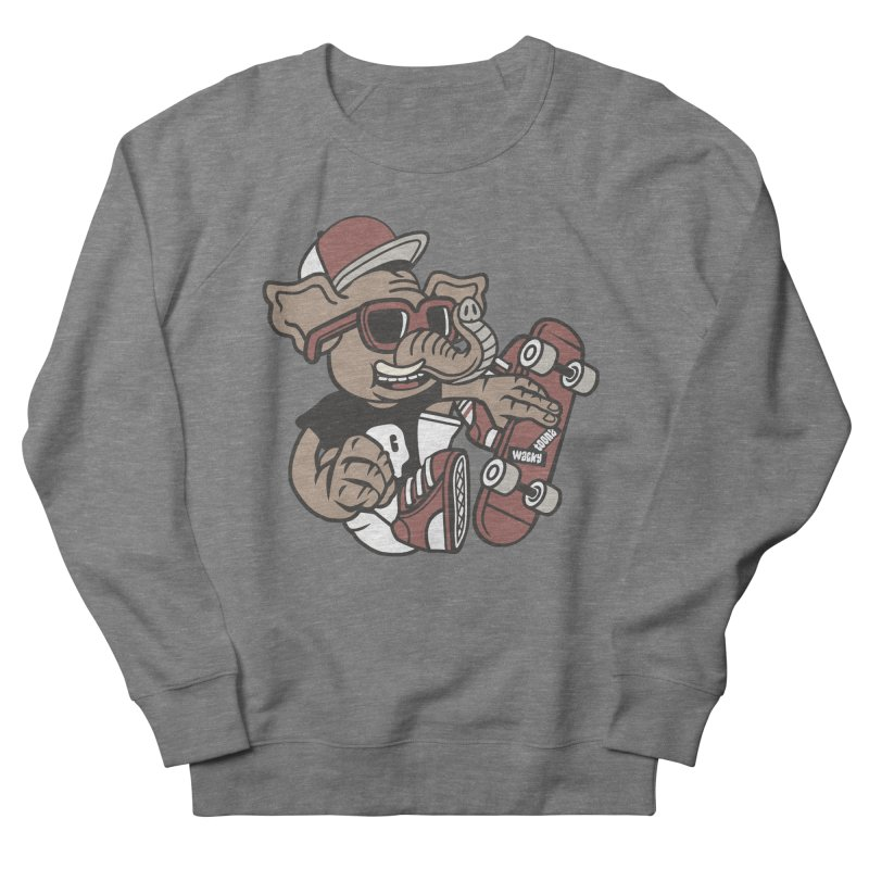 Skateboarding Elephant Men's French Terry Sweatshirt by WackyToonz