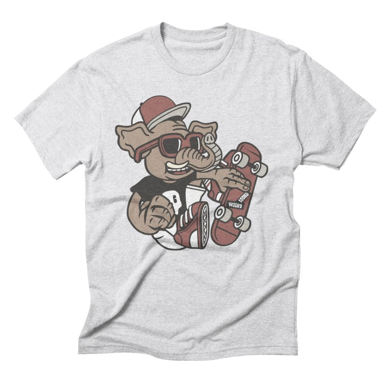 Skateboarding Elephant Men's Triblend T-Shirt by WackyToonz