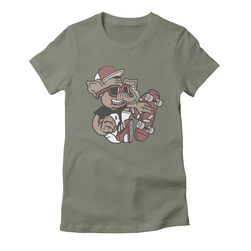 Skateboarding Elephant Women's T-Shirt by WackyToonz