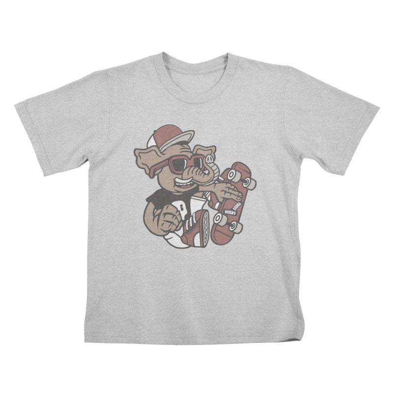 Skateboarding Elephant Kids T-Shirt by WackyToonz