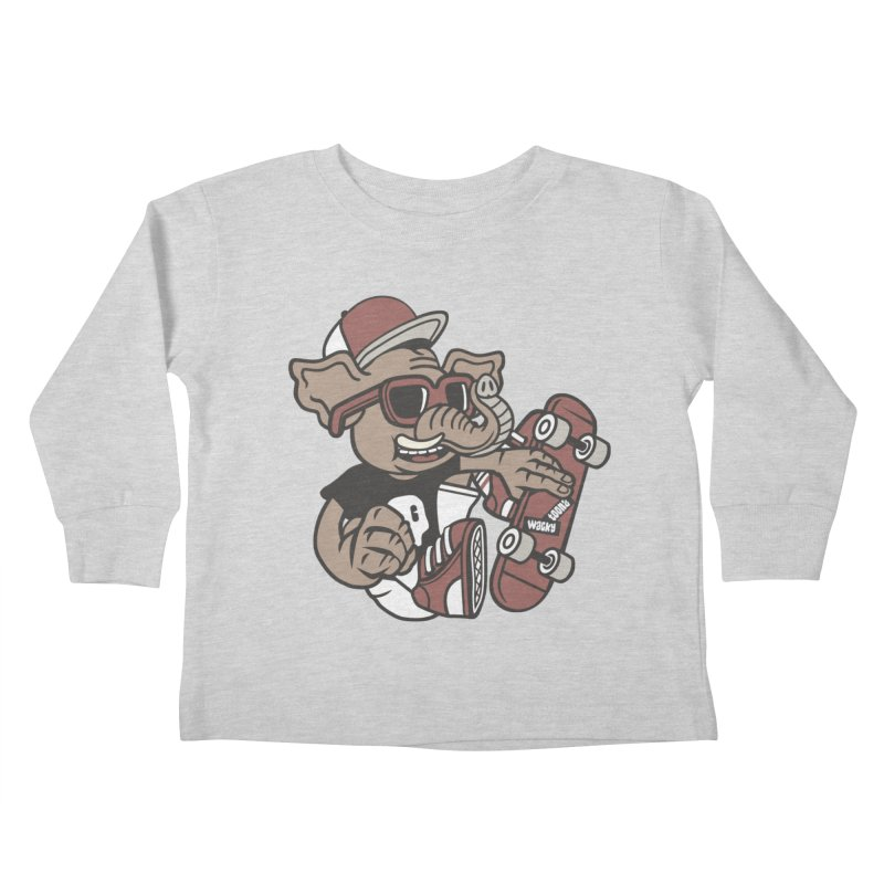 Skateboarding Elephant Kids Toddler Longsleeve T-Shirt by WackyToonz
