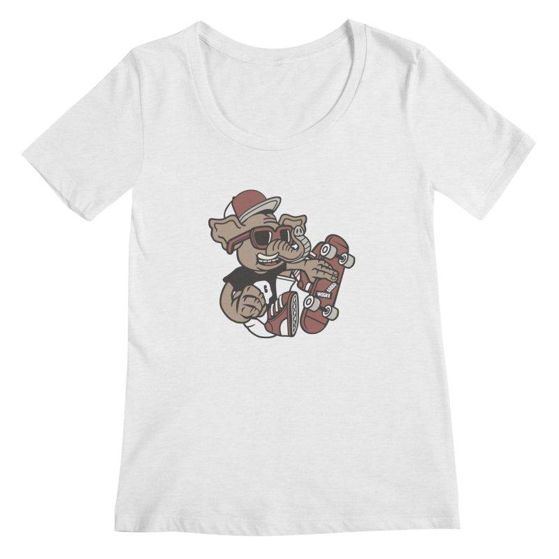 Skateboarding Elephant Women's Regular Scoop Neck by WackyToonz