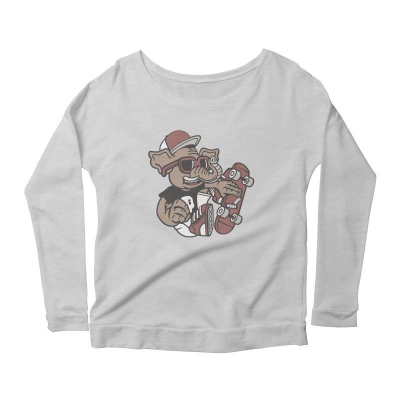 Skateboarding Elephant Women's Scoop Neck Longsleeve T-Shirt by WackyToonz