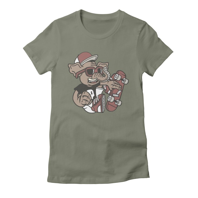 Skateboarding Elephant Women's Fitted T-Shirt by WackyToonz