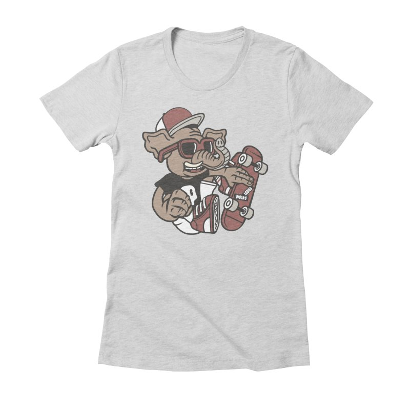 Skateboarding Elephant Women's Fitted T-Shirt by WackyToonz