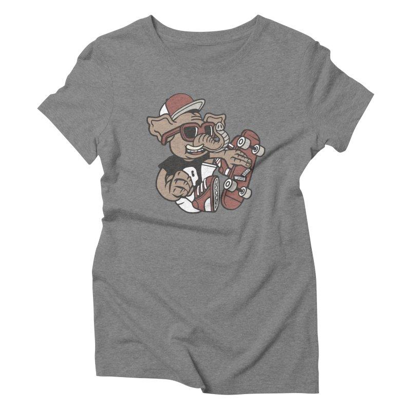 Skateboarding Elephant Women's Triblend T-Shirt by WackyToonz