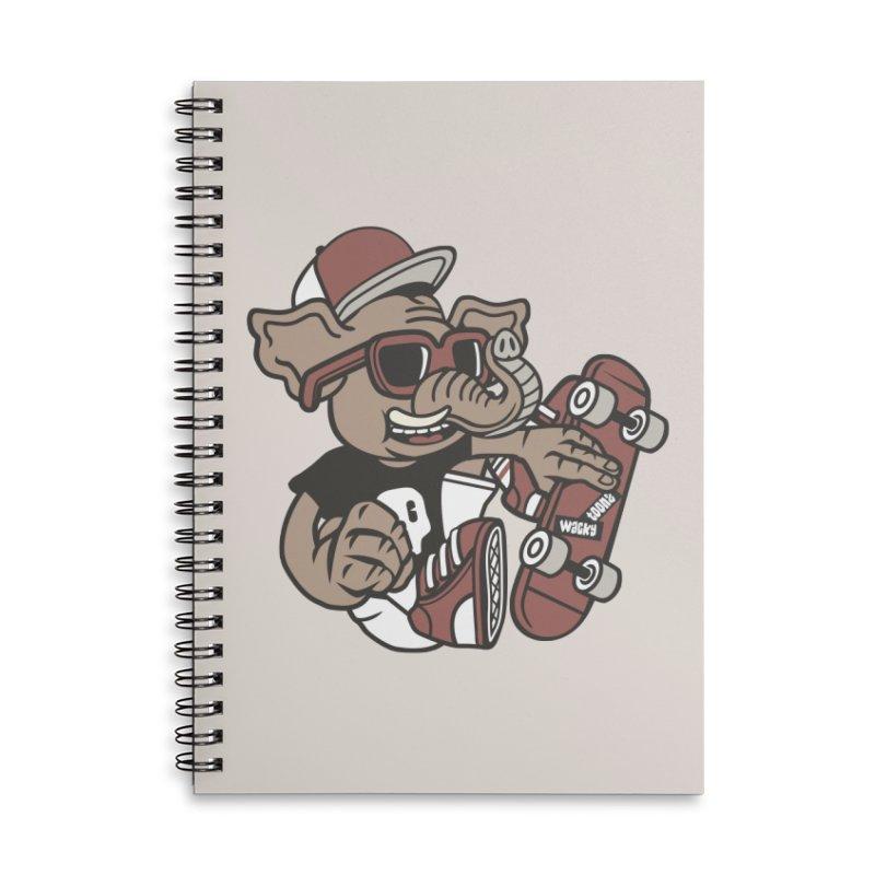 Skateboarding Elephant Accessories Lined Spiral Notebook by WackyToonz