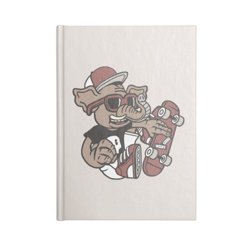 Skateboarding Elephant Accessories Lined Journal Notebook by WackyToonz