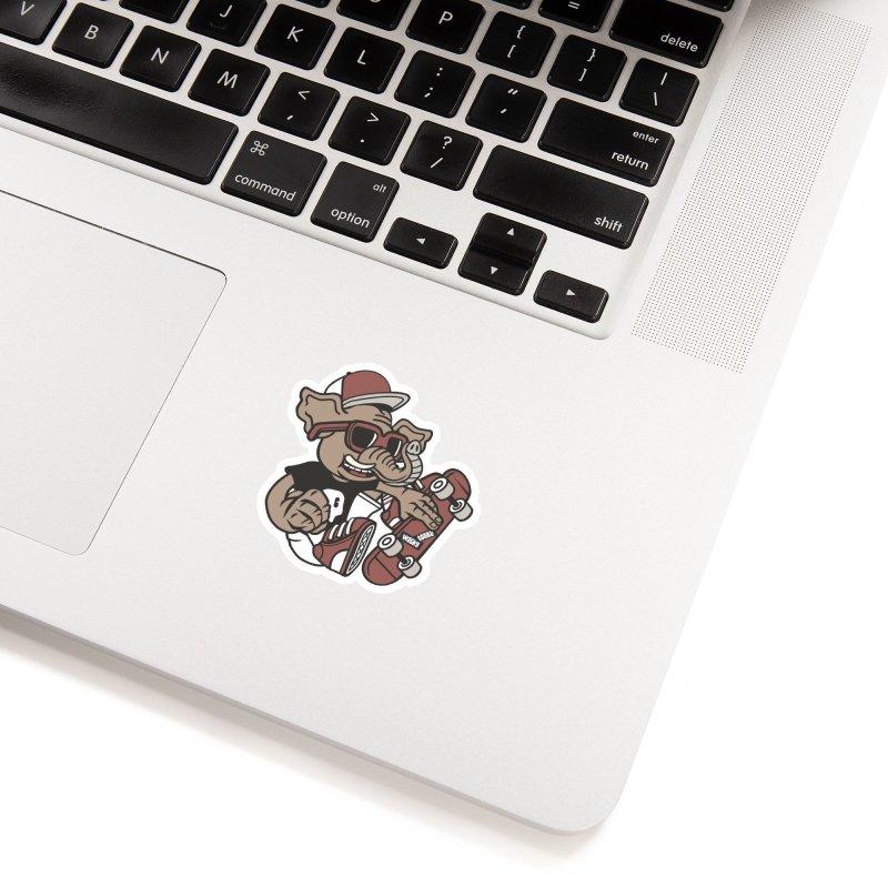 Skateboarding Elephant Accessories Sticker by WackyToonz