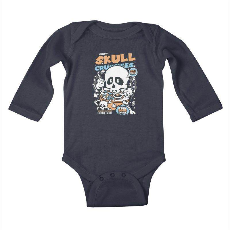 Skull Crunchies Cereal Kids Baby Longsleeve Bodysuit by WackyToonz