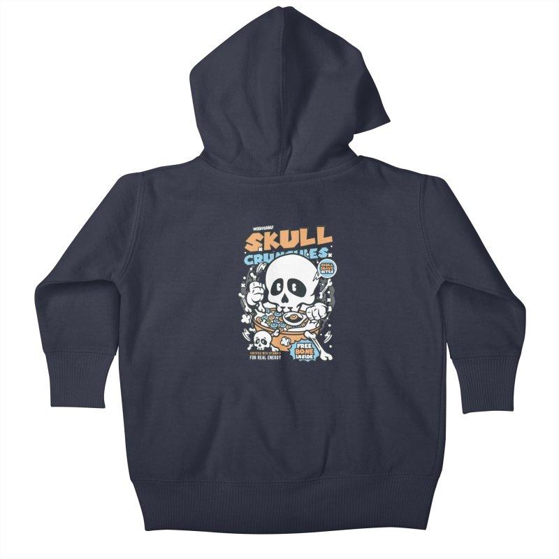 Skull Crunchies Cereal Kids Baby Zip-Up Hoody by WackyToonz