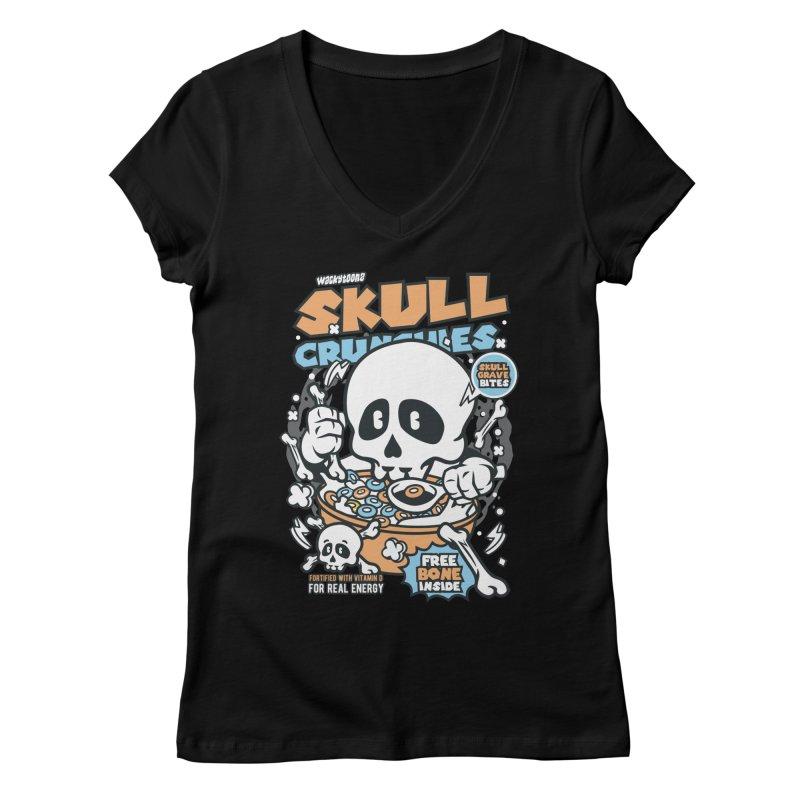 Skull Crunchies Cereal Women's V-Neck by WackyToonz