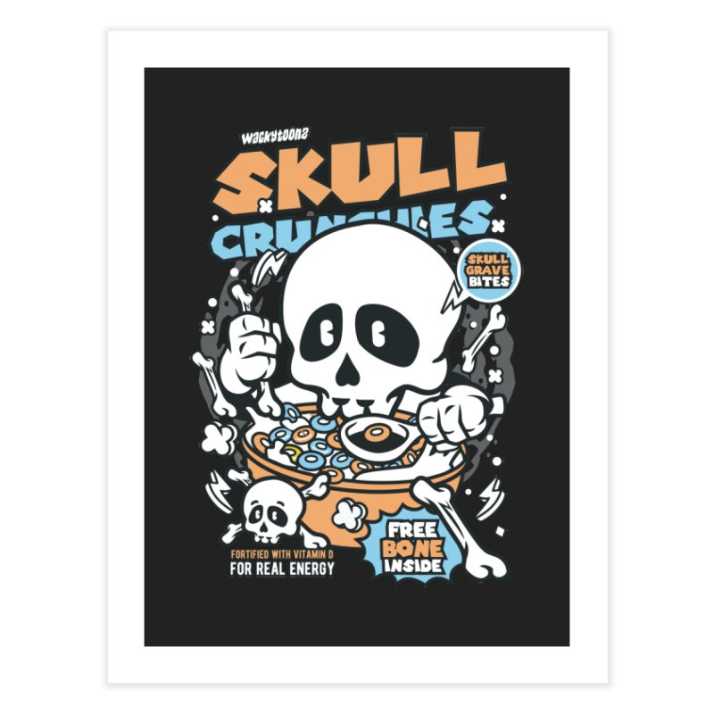 Skull Crunchies Cereal Home Decor Fine Art Print by WackyToonz