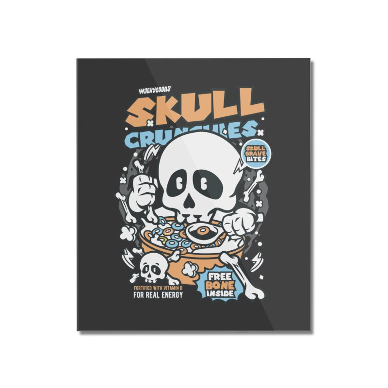 Skull Crunchies Cereal Home Mounted Acrylic Print by WackyToonz
