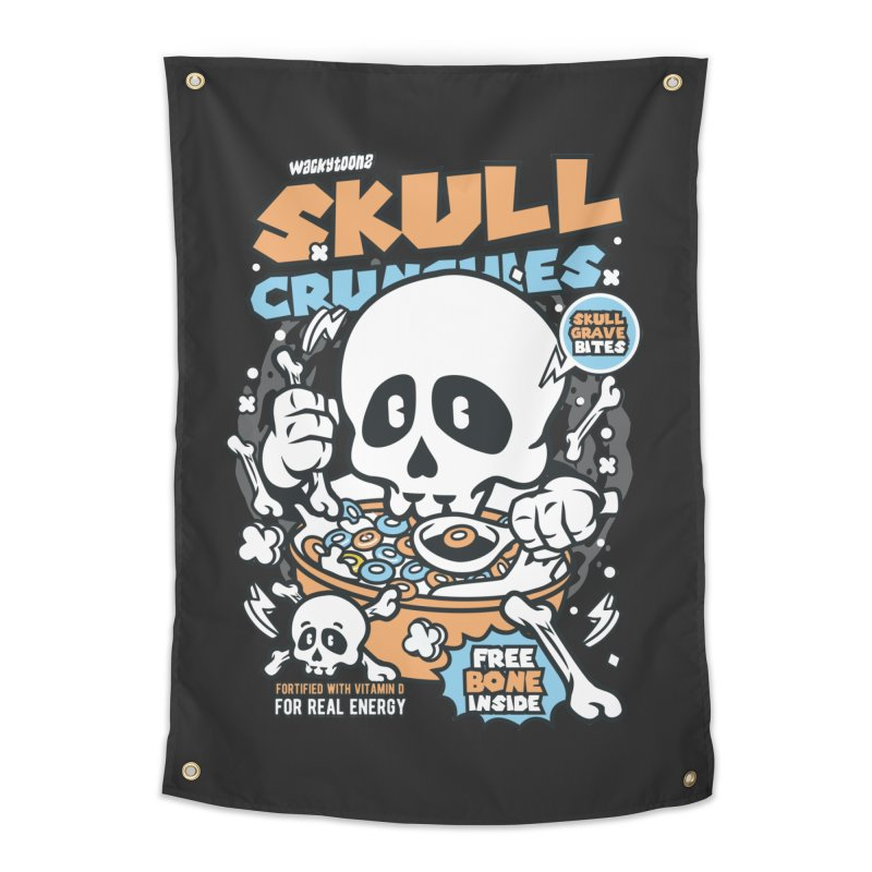 Skull Crunchies Cereal Home Decor Tapestry by WackyToonz