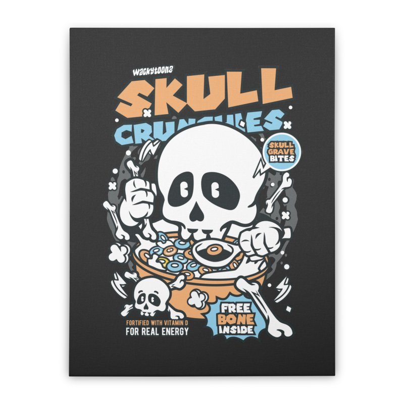 Skull Crunchies Cereal Home Decor Stretched Canvas by WackyToonz