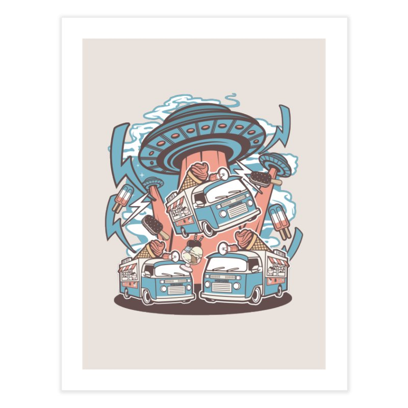 UFO Ice Cream Abduction Home Fine Art Print by WackyToonz