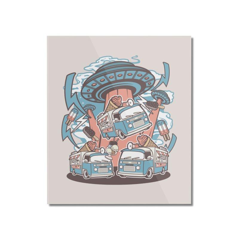 UFO Ice Cream Abduction Home Decor Mounted Acrylic Print by WackyToonz