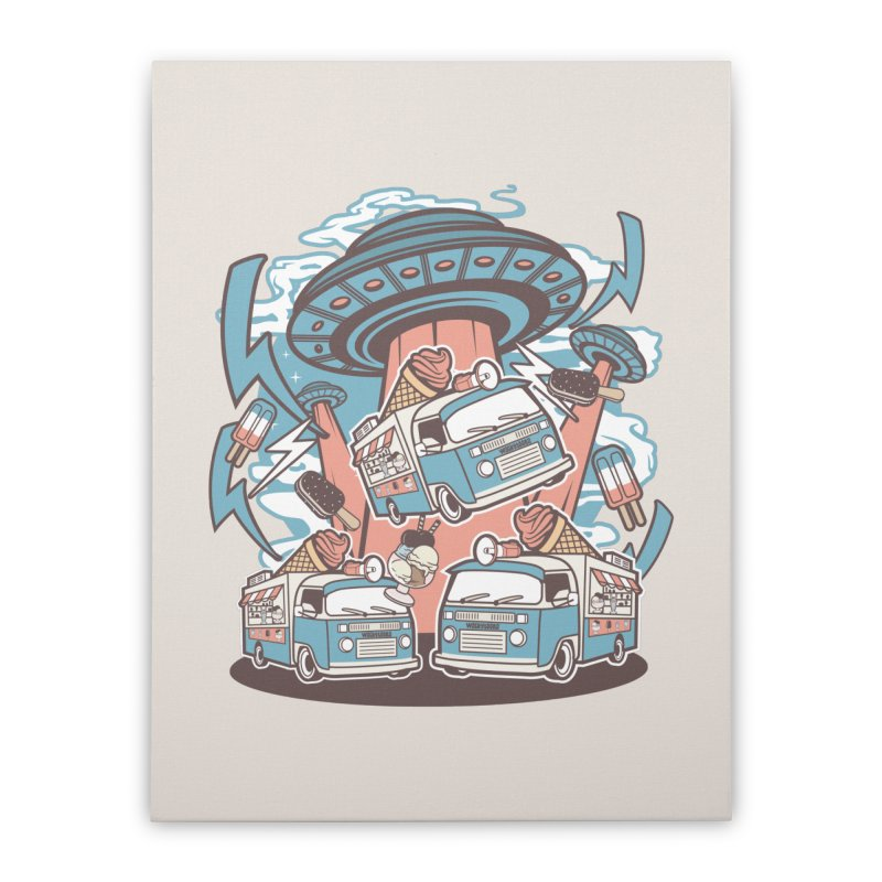 UFO Ice Cream Abduction Home Decor Stretched Canvas by WackyToonz