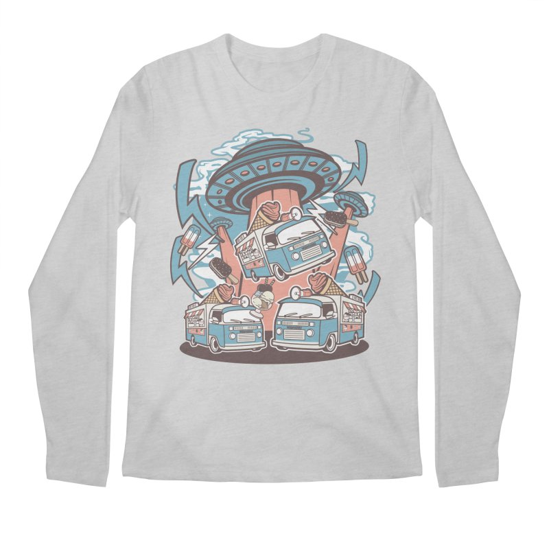 UFO Ice Cream Abduction Men's Longsleeve T-Shirt by WackyToonz