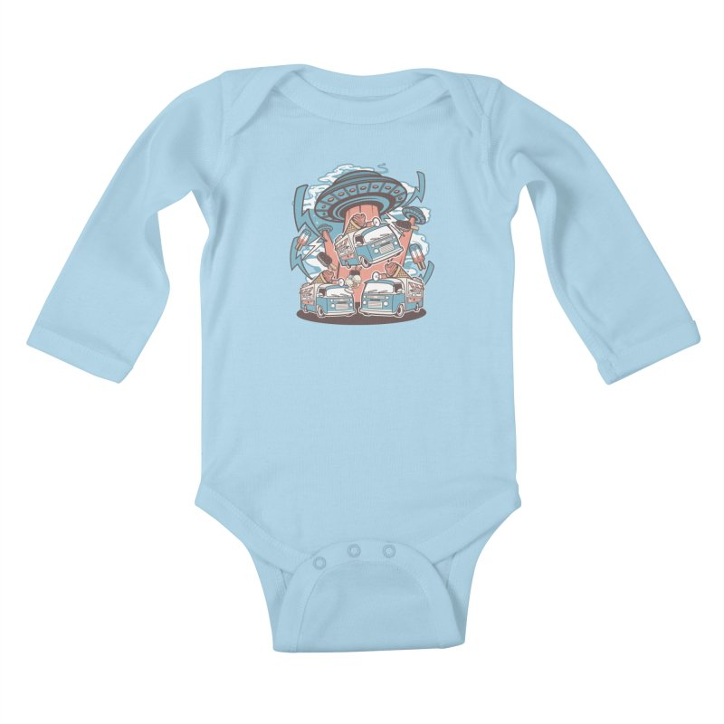 UFO Ice Cream Abduction Kids Baby Longsleeve Bodysuit by WackyToonz