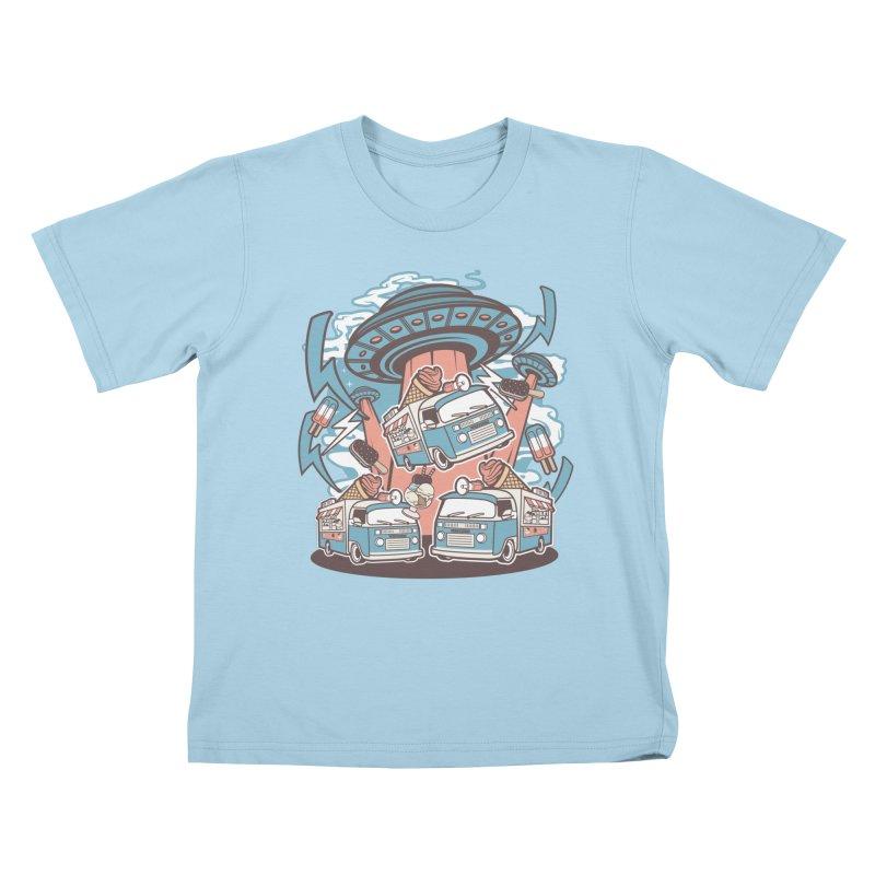 UFO Ice Cream Abduction Kids T-Shirt by WackyToonz