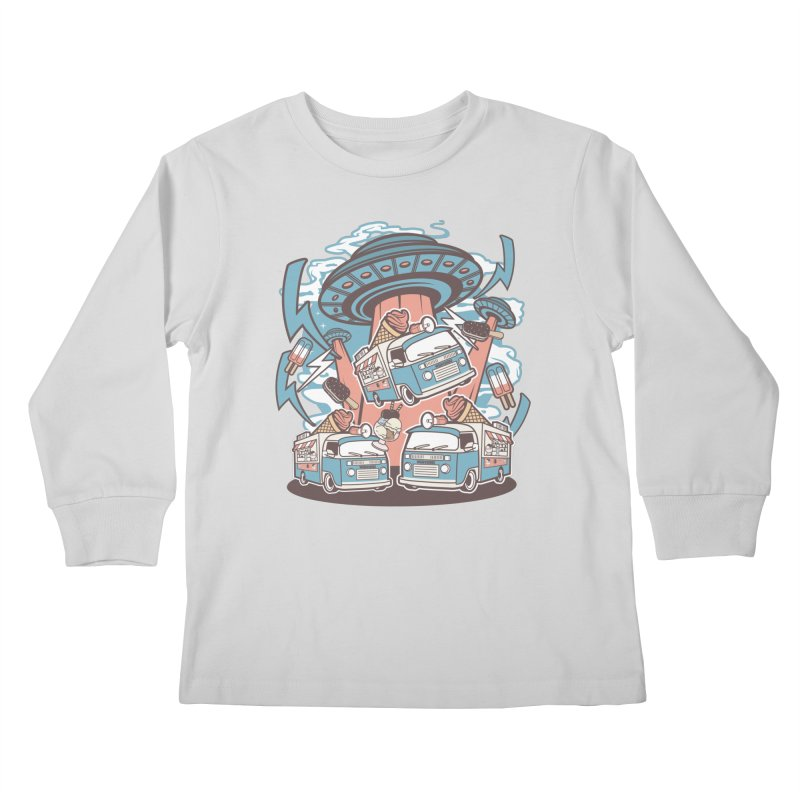 UFO Ice Cream Abduction Kids Longsleeve T-Shirt by WackyToonz