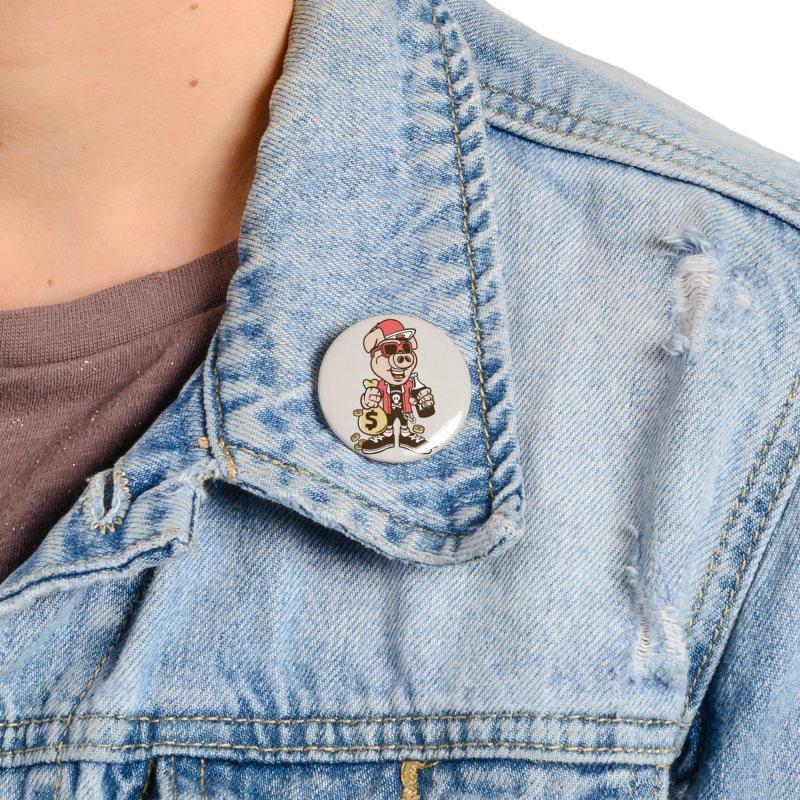 Piggy Bank Robber Accessories Button by WackyToonz