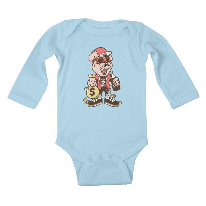 Piggy Bank Robber Kids Baby Longsleeve Bodysuit by WackyToonz