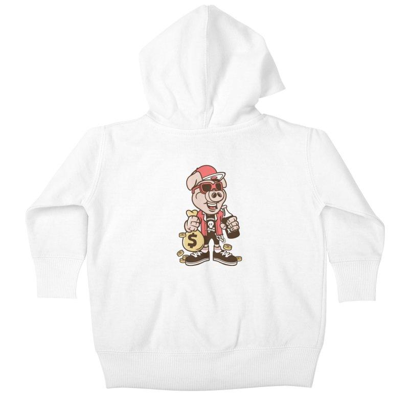 Piggy Bank Robber Kids Baby Zip-Up Hoody by WackyToonz