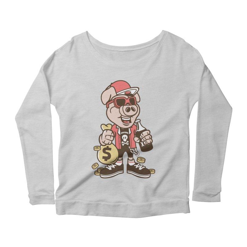 Piggy Bank Robber Women's Longsleeve T-Shirt by WackyToonz
